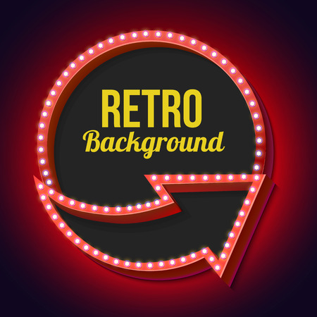 red circle: Retro sign with lights. Volume arrows and circle with empty space for your advertising text messages. Red 3d frame with lamps and light on a dark background. Vector illustration Illustration