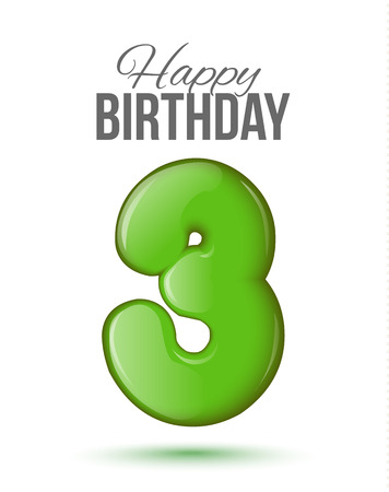 text 3d: Sample greeting card to the 3 th anniversary. Air 3D red numbers from the figures. Invitation card to the party with balloons on a white background. Suitable for printing, web delivery, the jubilee Illustration
