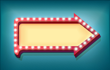 lit: Retro arrow with glowing lights. volume frame. Realistic scalable with  3d volumetric icon on light bulb. Empty space for text. Winter promotions, discounts and offers for your business. Vector Illustration