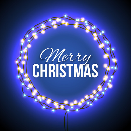 mailing: Round frame with glowing lights, garlands of blue with the words Merry Christmas.. Background on sale, discounts, promotions in the winter. Seasonal advertising. Suitable for printing, mailing