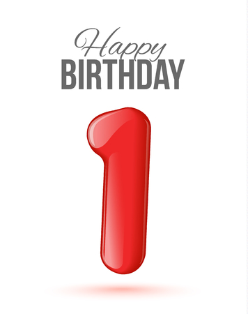 Sample greeting card to the 1 th anniversary. Air 3D red numbers from the figures. Invitation card to the party with balloons on a white background. Suitable for printing, web delivery, the jubilee Illustration