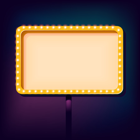 outdoor blank billboard: Night 3D sign with neon lights. Retro frame with lights and empty place for your text. Vintage billboard on the night sky. Vector illustration