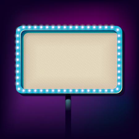 書き込み用のボリュームの看板。広告ネオンのあるフレーム。レトロなスタイルの広告のための白熱灯。ヴィンテージ背景。ベクトル図