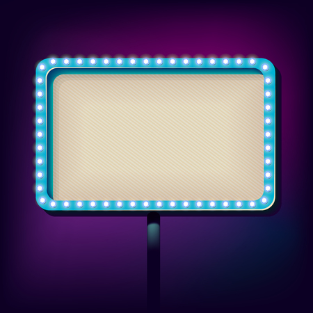 outdoor blank billboard: Volume billboard for writing. Frame with neon lights advertising. Glowing lights in a retro style for your advertising. Vintage background. Vector illustration