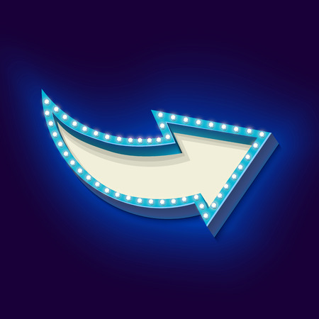 arrow sign: Realistic retro boom with neon lights. Volume frame with an arrow and blue light bulbs on a black background. There is an empty space for your advertising, promotions, text message. Vector