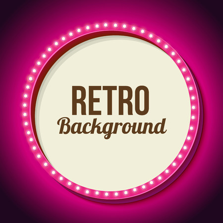 Realistic retro round frame with lights. Pink 3d frame with lights and white background for your text messages, promotions or discounts. Neon light falls on the black wall. Vector illustration Ilustração