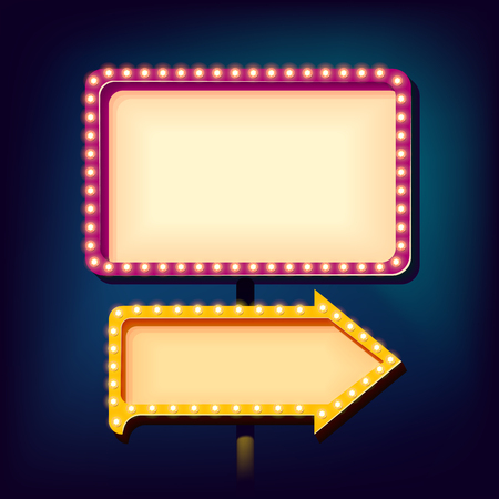 Street advertising billboard retro. Realistic 3d sign with neon lights. Blank light background for your text, publicity, promotion. The frame and arrow box. Vector illustration