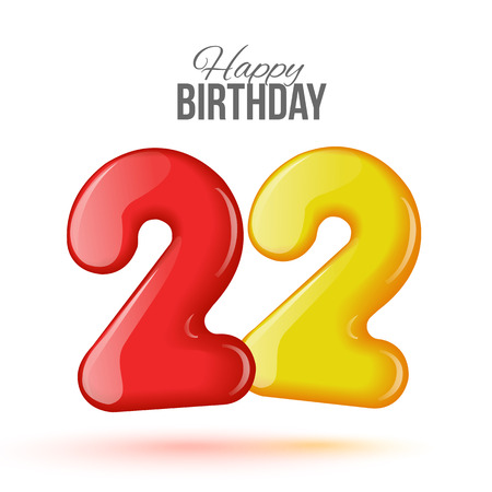 editable sign: Sample greeting card to the 22 th anniversary. Air 3D red numbers from the figures. Invitation card to the party with balloons on a white background. Suitable for printing, web delivery, the jubilee Illustration