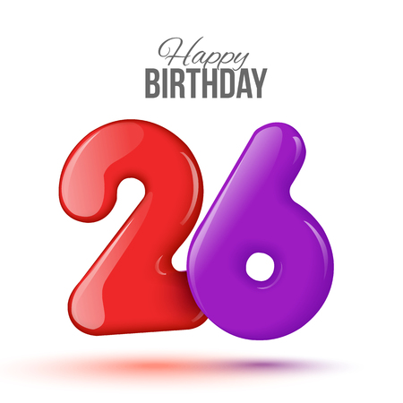 editable sign: Sample greeting card to the 26 th anniversary. Air 3D red numbers from the figures. Invitation card to the party with balloons on a white background. Suitable for printing, web delivery, the jubilee Illustration