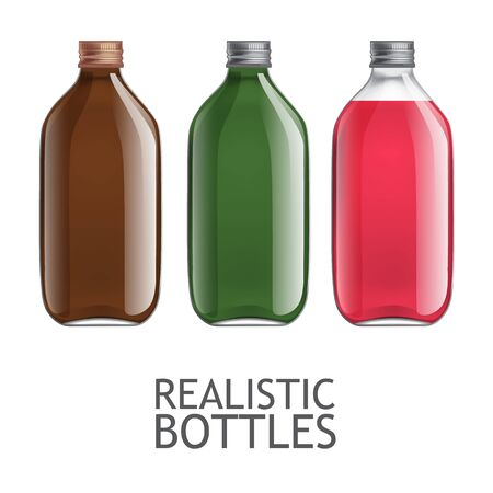 fluids: Set of transparent bottles. Template for design of bottles of milk, juice, yogurt, vinegar and any other liquid. Capacity for food and other fluids. Use for your design. illustration.