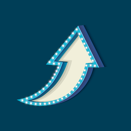 futile: Blue retro frame. Volumetric vintage frame with lights. Futile empty space for your text message advertising. Blue light lamps falls on a blue background. Vector illustration