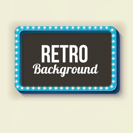 3d frame. Retro box with glowing lights on it. Blue frame with volumetric lights on a light background with a blank space for your text. Vector illustration