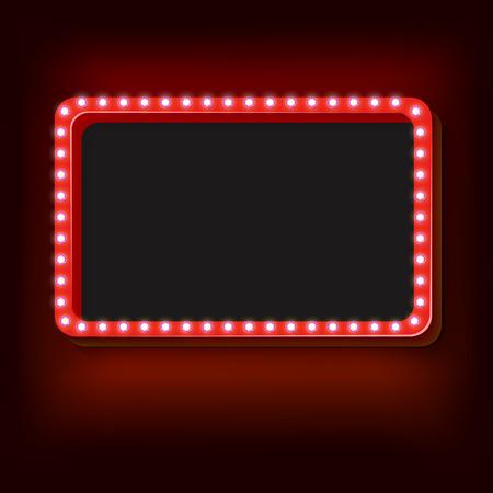 Blank 3D-Retro-Rahmen mit Lichtern. Das rote Rechteck mit leeren Platz für Ihren Text Werbebotschaft. Red Glühbirnen fallen auf einem schwarzen Hintergrund. Vektor-Illustration Standard-Bild - 49462671