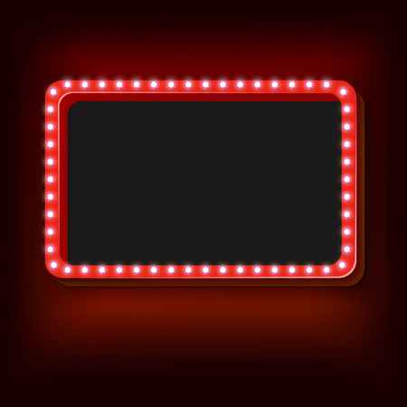 Blank 3d retro frame with lights. The red rectangle with blank space for your text advertising message. Red light bulbs fall on a black background. Vector illustration