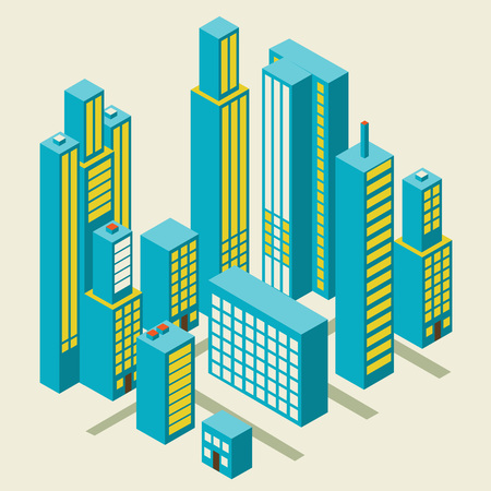 city center: Vector isometric city center on the map with lots of buildings, skyscrapers, factories, and parks