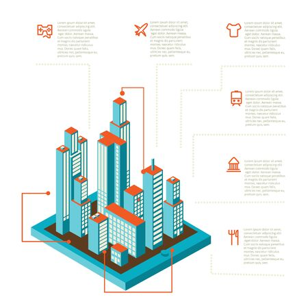 tridimensional: Isometric vector illustration of smartphone application with the city