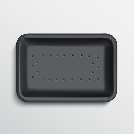 plastic container: empty wrapped food tray. empty plastic container over white background, .
