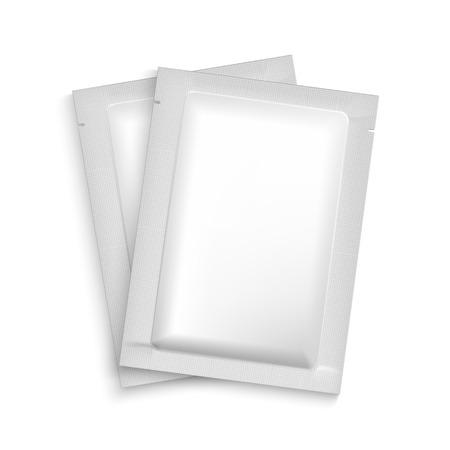 condones: Maqueta en blanco sobre de aluminio Embalaje para el té, café, azúcar, condones, drogas, así como la sal, especias, salsa, champú, gel, etc. Plástico paquete de plantillas para el diseño y la marca.