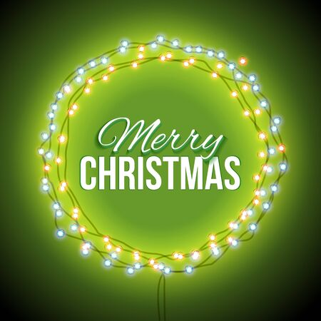 mailing: Round frame with glowing lights, garlands of green with the words Merry Christmas.. Background on sale, discounts, promotions in the winter. Seasonal advertising. Suitable for printing, mailing