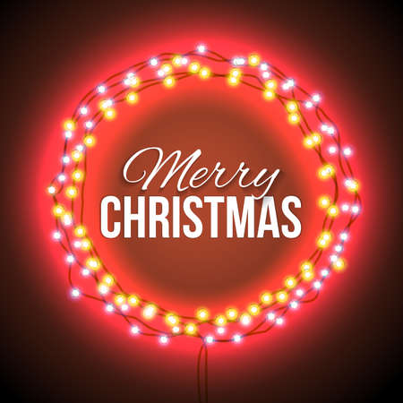 suitable: Round Frame with Glowing Lights, Garlands of Red with the words Merry Christmas.. Background on Sale, Discounts, Promotions in the Winter. Seasonal Advertising. Suitable for printing, mailing