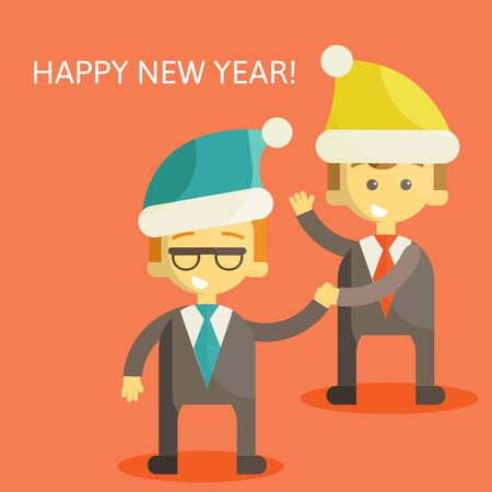 ps: Partners in Business congratulate each other on Christmas and New Year . Excellent partnership and success every year. illustration ps 10