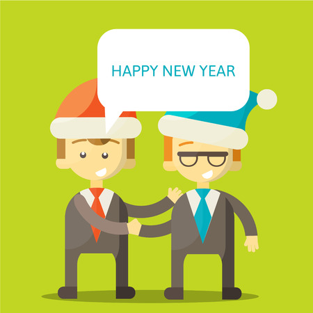 congratulate: Partners in Business congratulate each other on Christmas and New Year . Excellent partnership and success every year. illustration