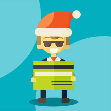 news letter: Happy businessman in Santa Claus hat. Merry Christmas and Happy New Year for your colleagues and partners. Letter with good news. good credit card. illustration