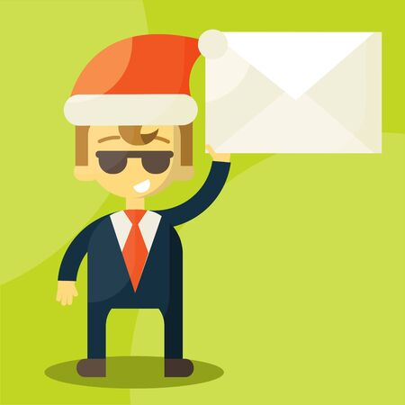 news letter: Happy businessman in Santa Claus hat. Merry Christmas and Happy New Year for your colleagues and partners. Letter with good news. Christmas Letters.  illustration
