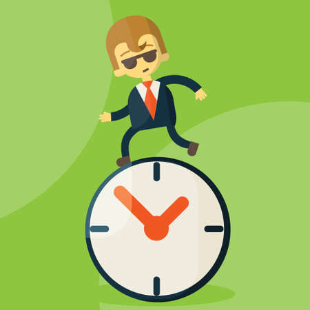 The time management, With Cartoon Businessman running Stock Photo