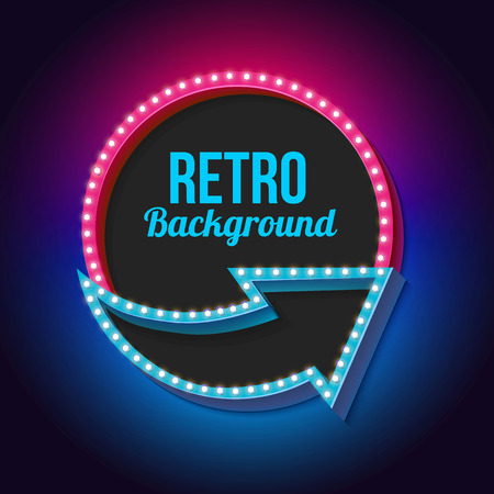 neon: Realistic retro frame. The bulk rectangular frame with light bulbs. Bright light lights fall on a black background. Empty space for your text and advertising.  Illustration