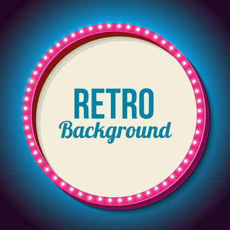movie theater: Pink retro frame with neon lights. Round volumetric 3D frame with yellow and blue light bulbs on a black wall. Pure white background for your text, events, advertising.