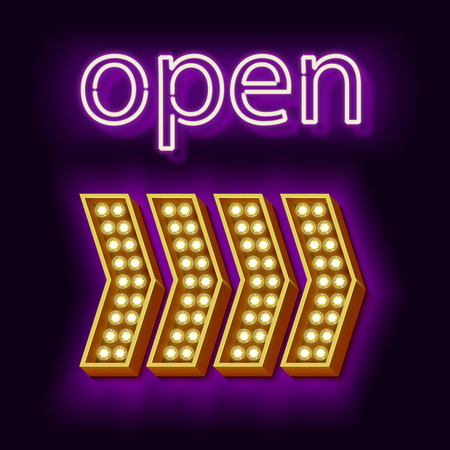 incident: Retro neon sign that says Open. Vintage yellow arrow with light bulbs. Glowing words. The inscription at the club. Violet light is incident on a black wall. Illustration