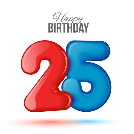 editable sign: Sample greeting card to the 25 th anniversary. Air 3D red numbers from the figures. Invitation card to the party with balloons on a white background. Suitable for printing, web delivery, the jubilee