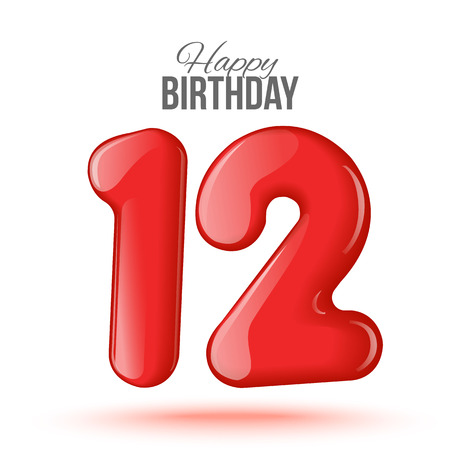 editable sign: Sample greeting card to the 12 th anniversary. Air 3D red numbers from the figures. Invitation card to the party with balloons on a white background. Suitable for printing, web delivery, the jubilee