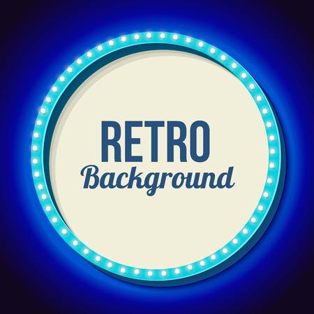 film festival: Blue round retro frame with lights. Illustration