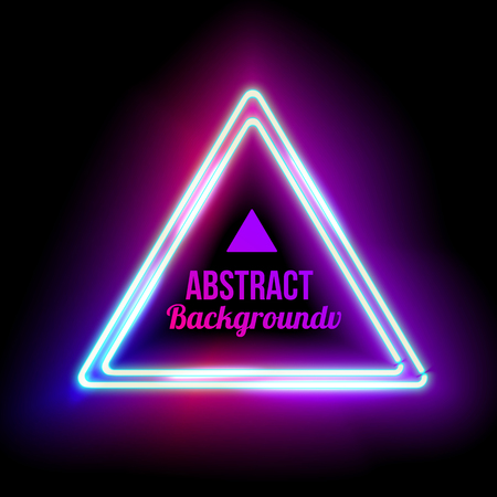 neon light: Neon abstract triangle. Glowing frame. Vintage electric symbol. Burning a pointer to a black wall in a club, bar or cafe. Design element for your ad, sign, poster, banner. Vector illustration