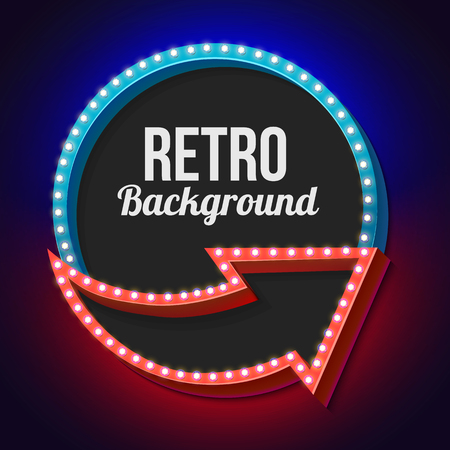 futile: Blue retro frame. Volumetric vintage frame with lights. Futile empty space for your text message advertising. Blue light lamps falls on a black background. Vector illustration Illustration