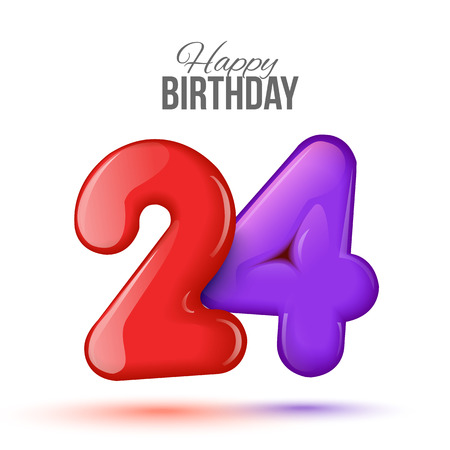 3d text: Sample greeting card to the 24 th anniversary. Air 3D red numbers from the figures. Invitation card to the party with balloons on a white background. Suitable for printing, web delivery, the jubilee