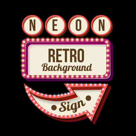 3d Vintage street sign. Retro banner with glowing lights. Volume symbol of the frame. Design element for your poster, advertising, text. Night sign with arrow. Frame, arrow icons. Vector illustration Иллюстрация