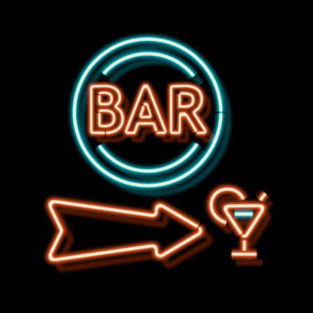 neon: Retro neon sign with the word bar. Vintage electric arrow symbol. Burning a pointer to a black wall in a club, bar or cafe. Design element for your ad, signs, posters, banners. Vector illustration