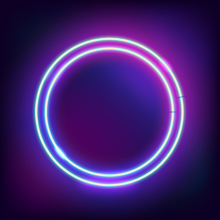 Neon abstract round. Glowing frame. Vintage electric symbol. Burning a pointer to a black wall in a club, bar or cafe. Design element for your ad, sign, poster, banner. Vector illustration Ilustrace