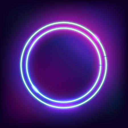 Neon abstracte ronde. Gloeiend frame. Vintage elektrisch symbool. Een pointer naar een zwarte muur in een club, bar of cafe branden. Ontwerpelement voor uw advertentie, teken, poster, banner. Vector illustratie Stock Illustratie