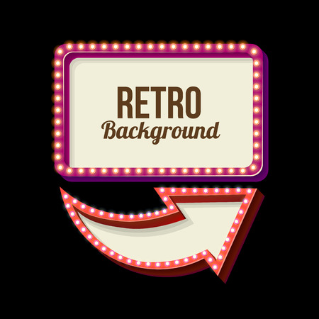 Retro night sign with an arrow. Vintage 3D volumetric banner. Outdoor advertising. Realistic character to your text. Design ellement for your advertising banner. Vector illustration Stock Vector - 51912106