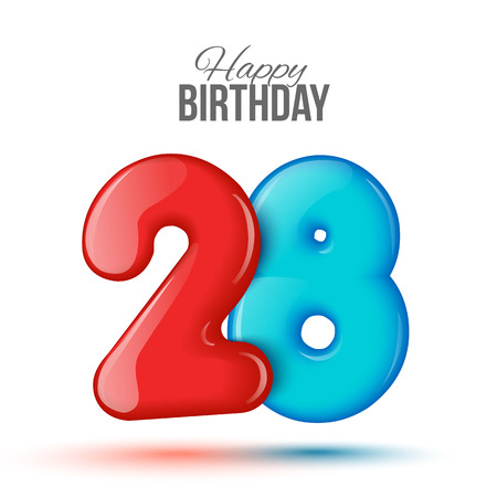 editable sign: Number twenty eight, 28 greeting card, 3d number 28. The volume figure 28 years. Positive, colorful, figure. Vector illustration. Inflatable red, blue eighteen. Sample card. celebrating birthday.