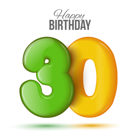 30 years: Number thirty, 30 greeting card, 3d number eighteen. The volume figure 30 years. Positive, colorful, figure. Vector illustration. Inflatable green, yellow thirty. Sample card. celebrating birthday.