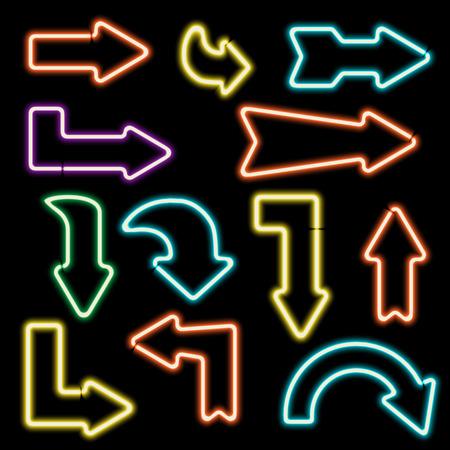flechas curvas: se�ales de ne�n retro. Conjunto de flechas electr�nicos. Iconos curvados flechas. Los elementos de dise�o para sus pancartas, folletos, anuncios, Web. S�mbolo de la vendimia de las flechas. ilustraci�n vectorial Vectores