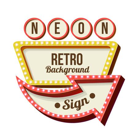 Retro Nacht Schild mit einem Pfeil. Jahrgang volumetrische 3D-Banner. Aussenwerbung. Realistische Charakter zu Ihrem Text. Design ellement für Ihre Werbung Banner. Vektor-Illustration