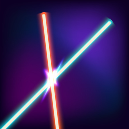 angry sky: Two crossed lightsabers. Red and blue sword in the night sky. Neon swords. Vector illustration Illustration