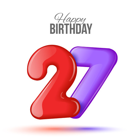 3d text: Sample greeting card to the 27 th anniversary. Air 3D red numbers from the figures. Invitation card to the party with balloons on a white background. Suitable for printing, web delivery, the jubilee
