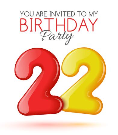 tarjeta de invitacion: Invitaci�n al 22 aniversario. Aire 3D bolas rojas de las figuras. Tarjeta de invitaci�n a la fiesta con globos en un fondo blanco. Adecuado para la impresi�n, publicaci�n en la Web, el jubileo. Vector Vectores